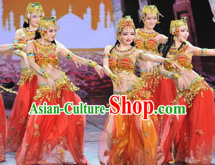 Traditional Indian Classical Dance Costume, India Belly Dance Red Dress for Women