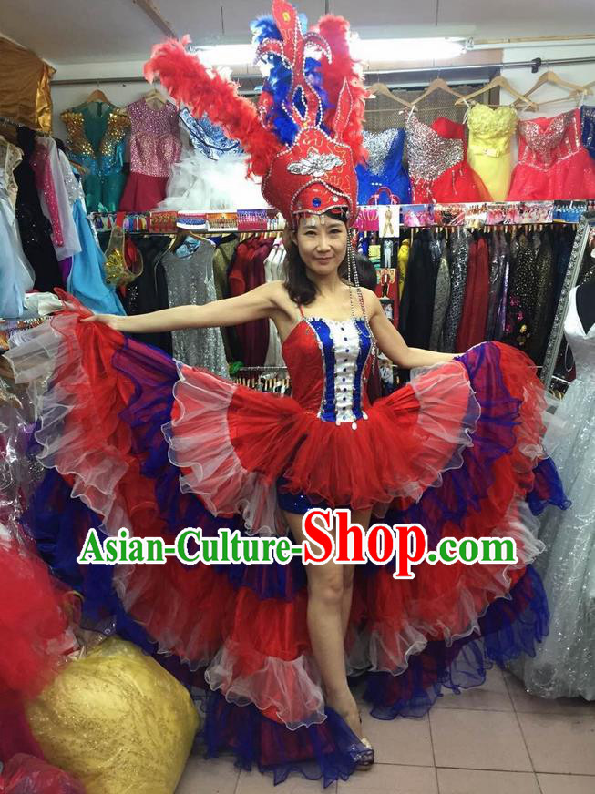 Chinese Classic Stage Performance Dance Costumes, Opening Dance Competition Red Dress, Folk Dance Classic Carnival Clothing for Women