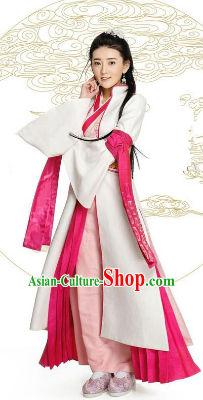Asian Chinese Northern and Southern Dynasty Imperial Princess Costume and Handmade Headpiece Complete Set, China Ancient Elegant Hanfu Clothing Nobility Young Lady Embroidered Dress