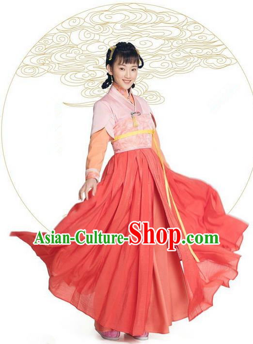 Asian Chinese Northern and Southern Dynasty Female Costume and Headpiece Complete Set, China Ancient Elegant Hanfu Clothing Nobility Lady Embroidered Dress
