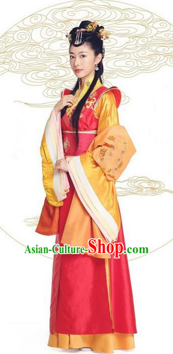 Asian Chinese Northern and Southern Dynasty Imperial Consort Costume and Headpiece Complete Set, China Ancient Elegant Hanfu Clothing Palace Lady Embroidered Dress