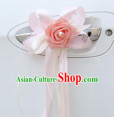 Top Grade Wedding Accessories Decoration, China Style Wedding Limousine Bowknot Pink Flowers Bride Garlands