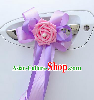 Top Grade Wedding Accessories Decoration, China Style Wedding Limousine Bowknot Flowers Bride Lilac Ribbon Garlands