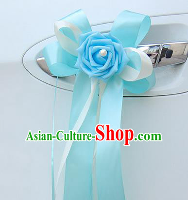 Top Grade Wedding Accessories Decoration, China Style Wedding Limousine Bowknot Light Blue Flowers Bride Ribbon Garlands