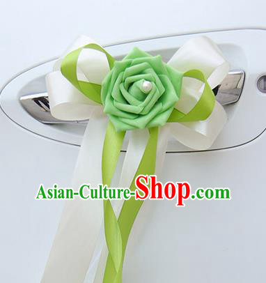 Top Grade Wedding Accessories Decoration, China Style Wedding Limousine Bowknot Green Flowers Bride Ribbon Garlands