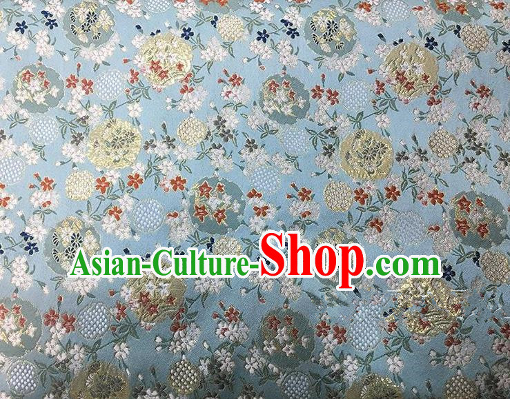 Asian Chinese Traditional Satin Embroidery Silk Fabric, Top Grade Nanjing Brocade Tang Suit Hanfu Blue Fabric Cheongsam Cloth Material