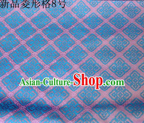 Asian Chinese Traditional Handmade Embroidery Rhombus Pattern Satin Silk Fabric, Top Grade Nanjing Brocade Tang Suit Hanfu Fabric Cheongsam Lake Blue Cloth Material