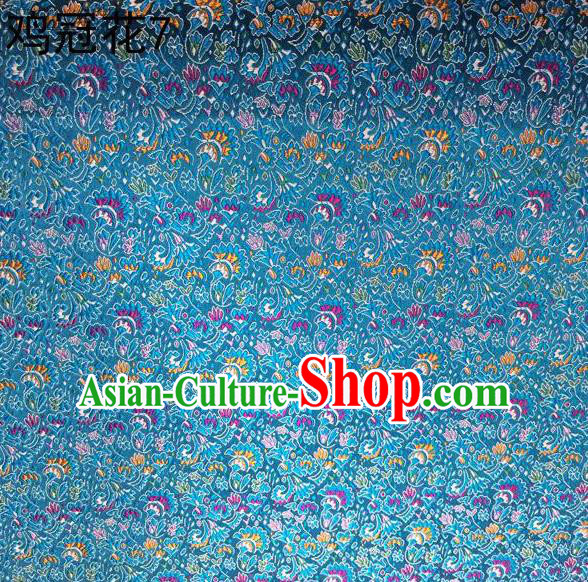 Asian Chinese Traditional Handmade Embroidery Cockscomb Flowers Satin Thangka Light Blue Silk Fabric, Top Grade Nanjing Brocade Tang Suit Hanfu Fabric Cheongsam Cloth Material