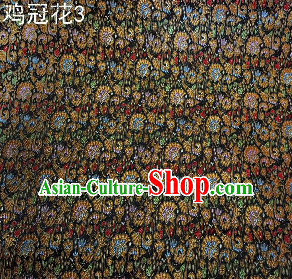 Asian Chinese Traditional Handmade Embroidery Cockscomb Flowers Satin Thangka Black Silk Fabric, Top Grade Nanjing Brocade Tang Suit Hanfu Fabric Cheongsam Cloth Material