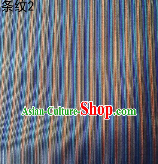 Asian Chinese Traditional Handmade Printing Column Bar Satin Thangka Blue Silk Fabric, Top Grade Nanjing Brocade Tang Suit Hanfu Fabric Cheongsam Cloth Material