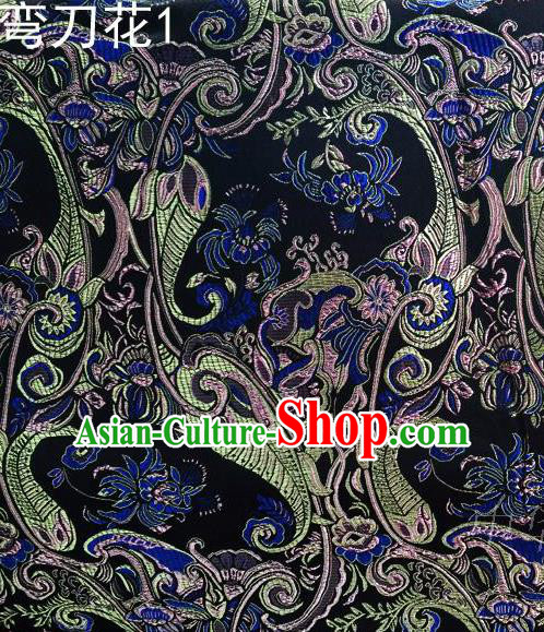 Asian Chinese Traditional Handmade Printing Machetes Flowers Satin Thangka Navy Silk Fabric, Top Grade Nanjing Brocade Tang Suit Hanfu Fabric Cheongsam Cloth Material