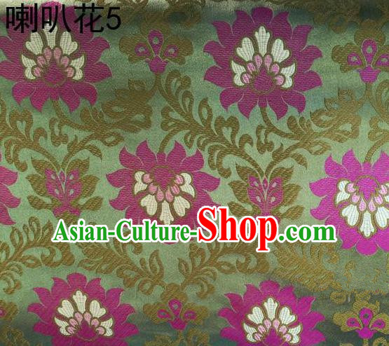 Traditional Asian Chinese Handmade Embroidery Petunia Flowers Satin Light Green Silk Fabric, Top Grade Nanjing Brocade Tang Suit Hanfu Clothing Fabric Cheongsam Cloth Material