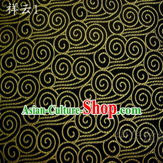 Traditional Asian Chinese Handmade Embroidery Golden Auspicious Clouds Satin Black Silk Fabric, Top Grade Nanjing Brocade Tang Suit Hanfu Clothing Fabric Cheongsam Cloth Material