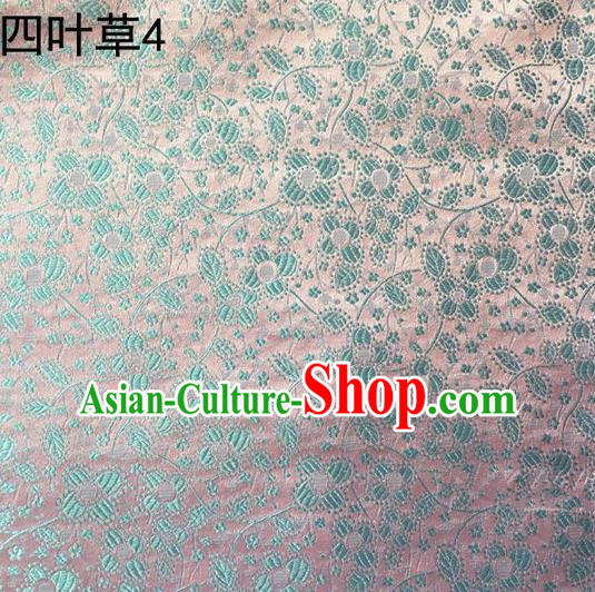 Traditional Asian Chinese Handmade Embroidery Blue Clover Silk Satin Tang Suit Light Pink Fabric, Nanjing Brocade Ancient Costume Hanfu Cheongsam Cloth Material
