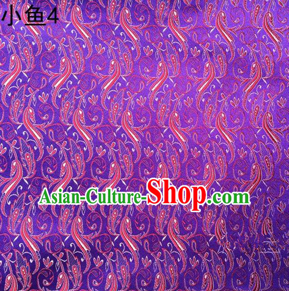 Traditional Asian Chinese Handmade Jacquard Weave Red Fish Pattern Satin Tang Suit Purple Silk Fabric, Top Grade Nanjing Brocade Ancient Costume Hanfu Clothing Fabric Cheongsam Cloth Material