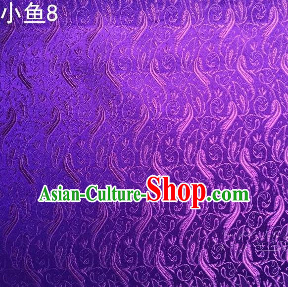 Traditional Asian Chinese Handmade Jacquard Weave Fish Pattern Satin Tang Suit Purple Silk Fabric, Top Grade Nanjing Brocade Ancient Costume Hanfu Clothing Fabric Cheongsam Cloth Material