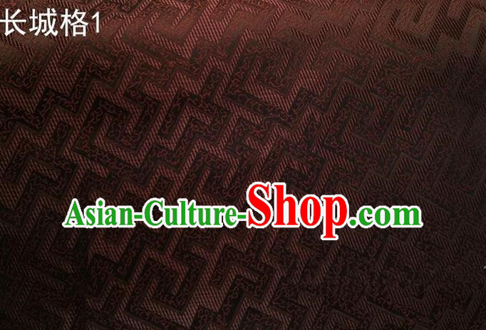 Traditional Asian Chinese Handmade Jacquard Weave Satin Tang Suit Brown Silk Fabric, Top Grade Nanjing Brocade Ancient Costume Hanfu Clothing Fabric Cheongsam Cloth Material