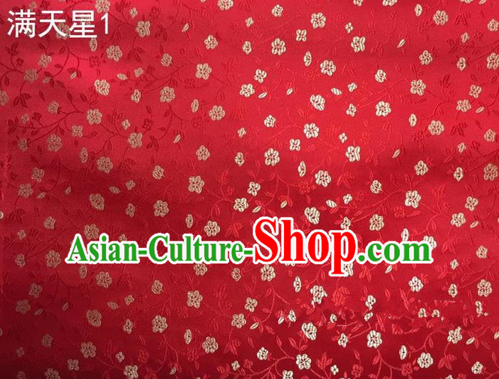 Traditional Asian Chinese Handmade Embroidery Plum Blossom Satin Tang Suit Red Silk Fabric, Top Grade Nanjing Brocade Ancient Costume Hanfu Clothing Fabric Cheongsam Cloth Material