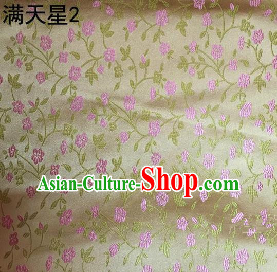 Traditional Asian Chinese Handmade Embroidery Plum Blossom Satin Tang Suit Golden Silk Fabric, Top Grade Nanjing Brocade Ancient Costume Hanfu Clothing Fabric Cheongsam Cloth Material