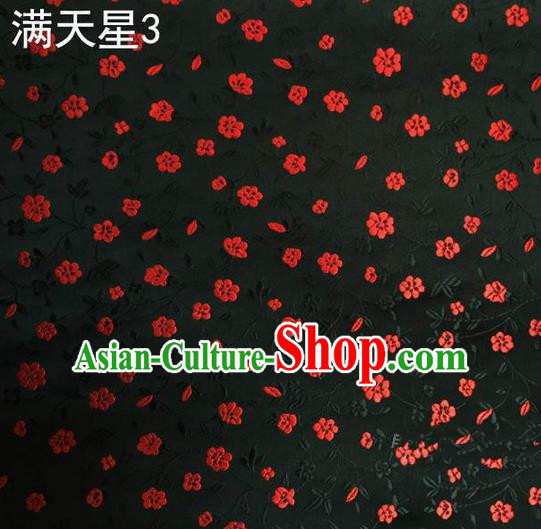 Traditional Asian Chinese Handmade Embroidery Plum Blossom Satin Tang Suit Black Silk Fabric, Top Grade Nanjing Brocade Ancient Costume Hanfu Clothing Fabric Cheongsam Cloth Material