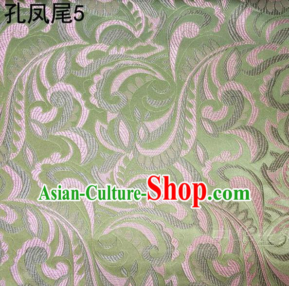 Traditional Asian Chinese Handmade Embroidery Ombre Flowers Satin Tang Suit Light Green Silk Fabric, Top Grade Nanjing Brocade Ancient Costume Hanfu Clothing Fabric Cheongsam Cloth Material