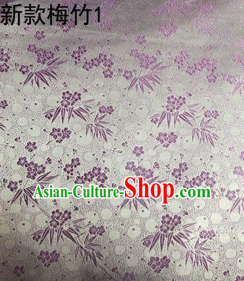 Traditional Asian Chinese Handmade Embroidery Plum Bamboo Silk Satin Tang Suit Lilac Fabric, Nanjing Brocade Ancient Costume Hanfu Cheongsam Cloth Material