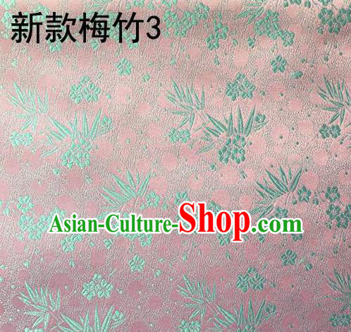 Traditional Asian Chinese Handmade Embroidery Plum Bamboo Silk Satin Tang Suit Pink Fabric, Nanjing Brocade Ancient Costume Hanfu Cheongsam Cloth Material