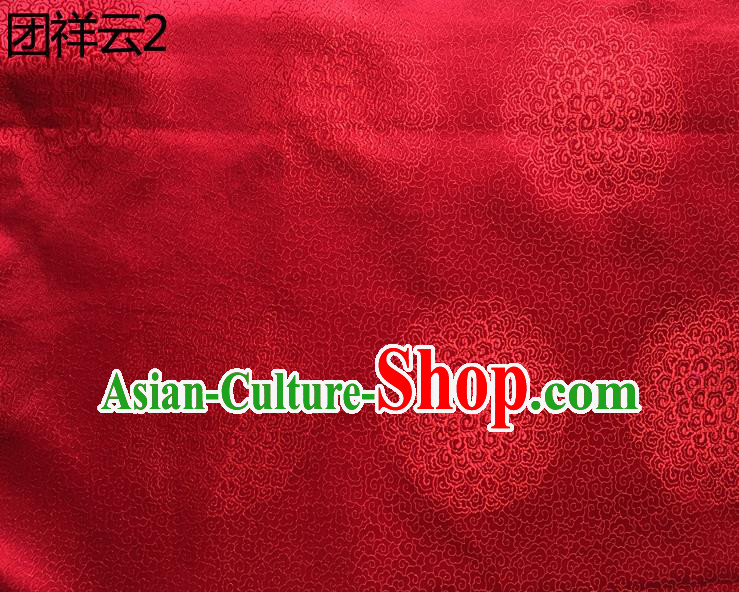 Traditional Asian Chinese Handmade Embroidery Round Auspicious Clouds Silk Satin Tang Suit Red Mongolian Robe Fabric, Nanjing Brocade Ancient Costume Hanfu Cheongsam Cloth Material