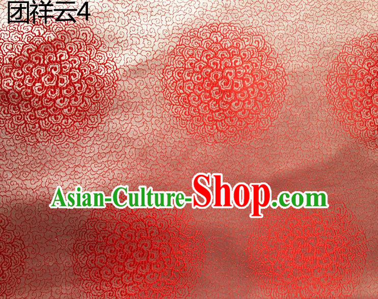 Traditional Asian Chinese Handmade Embroidery Round Auspicious Clouds Silk Satin Tang Suit Pink Mongolian Robe Fabric, Nanjing Brocade Ancient Costume Hanfu Cheongsam Cloth Material