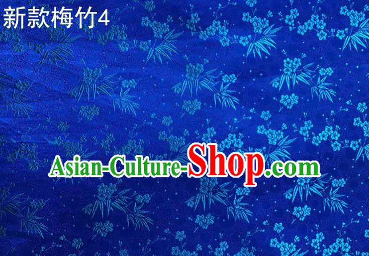 Traditional Asian Chinese Handmade Embroidery Plum Bamboo Silk Satin Tang Suit Blue Fabric, Nanjing Brocade Ancient Costume Hanfu Cheongsam Cloth Material