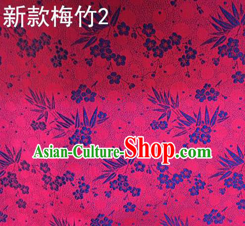 Traditional Asian Chinese Handmade Embroidery Plum Bamboo Silk Satin Tang Suit Rosy Fabric, Nanjing Brocade Ancient Costume Hanfu Cheongsam Cloth Material