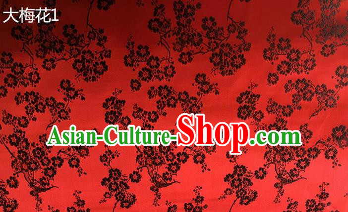 Traditional Asian Chinese Handmade Embroidery Black Plum Blossom Flowers Silk Satin Tang Suit Red Fabric, Nanjing Brocade Ancient Costume Hanfu Cheongsam Cloth Material