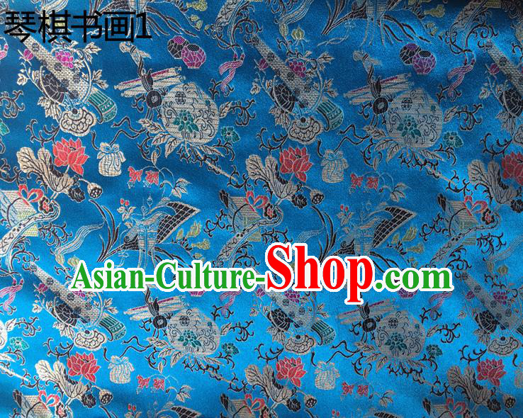 Traditional Asian Chinese Handmade Embroidery Wine Bottles Silk Satin Tang Suit Blue Fabric Drapery, Nanjing Brocade Ancient Costume Hanfu Cheongsam Cloth Material