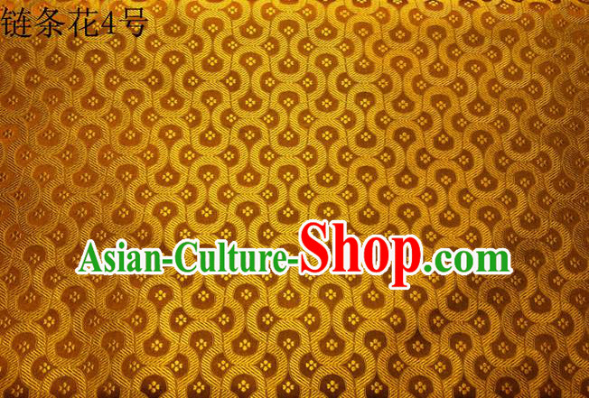 Traditional Asian Chinese Handmade Embroidery Chain Flowers Silk Satin Tang Suit Golden Fabric Drapery, Nanjing Brocade Ancient Costume Hanfu Cheongsam Cloth Material