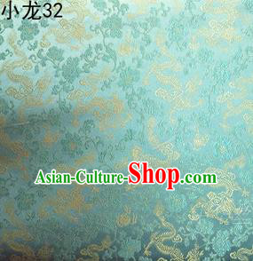 Traditional Asian Chinese Handmade Embroidery Dragons Silk Tapestry Tibetan Clothing Light Green Fabric Drapery, Top Grade Nanjing Brocade Cheongsam Cloth Material