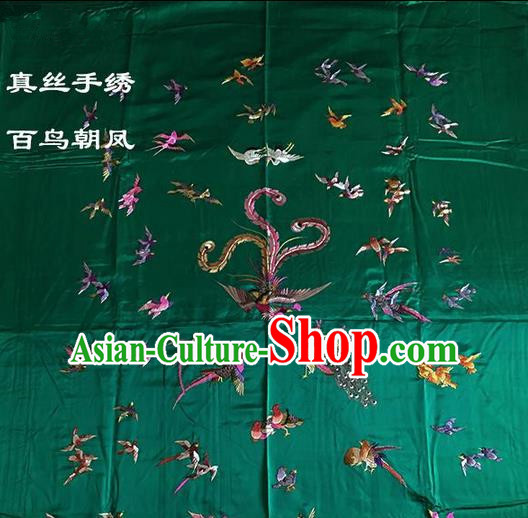 Traditional Asian Chinese Handmade Embroidery Song of the Phoenix Quilt Cover Silk Tapestry Green Fabric Drapery, Top Grade Nanjing Brocade Bed Sheet Cloth Material