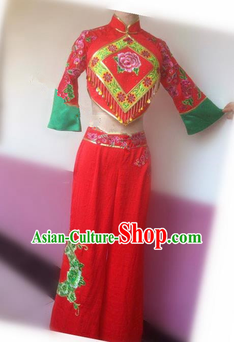 Traditional Ancient Chinese Folk Yanko Dance Uniform, Elegant Hanfu China Classical Dance Yangge Dress Red Clothing for Women