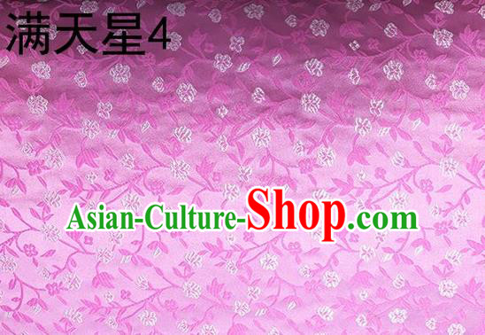 Traditional Asian Chinese Handmade Embroidery Flowers Kimono Silk Tapestry Pink Fabric Drapery, Top Grade Nanjing Brocade Cheongsam Cloth Material