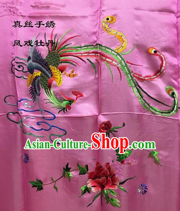 Traditional Asian Chinese Handmade Embroidery Phoenix Peony Quilt Cover Silk Tapestry Pink Fabric Drapery, Top Grade Nanjing Brocade Bed Sheet Cloth Material