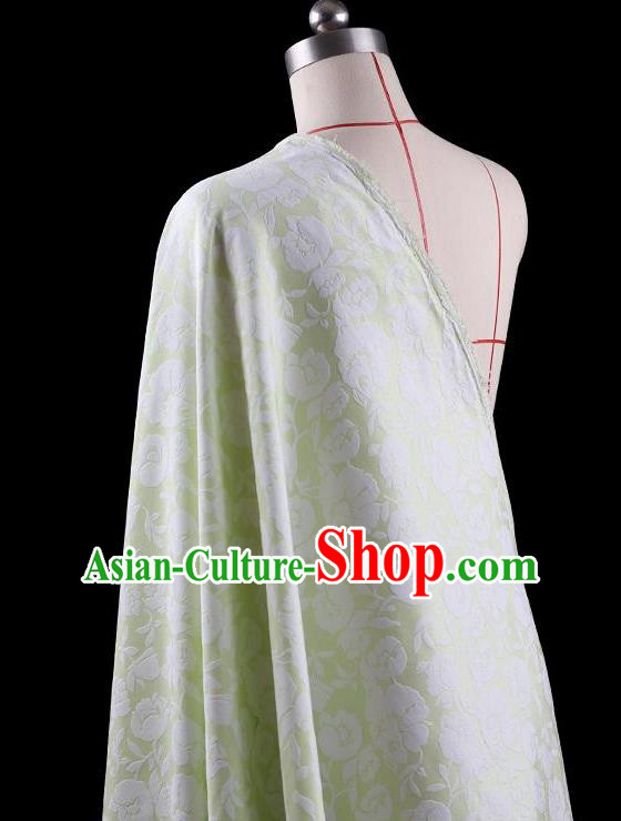 Traditional Asian Chinese Handmade Embroidery Flowers Coat Silk Tapestry Green Fabric Drapery, Top Grade Nanjing Brocade Ancient Costume Cheongsam Cloth Material