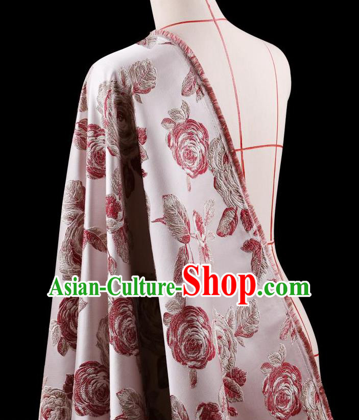 Traditional Asian Chinese Handmade Embroidery Flower Jacquard Weave Coat Pink Silk Satin Fabric Drapery, Top Grade Nanjing Brocade Ancient Costume Cheongsam Cloth Material