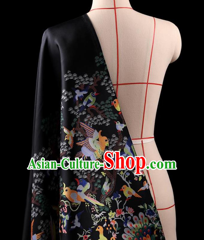 Traditional Asian Chinese Handmade Embroidery Dress Silk Satin Black Fabric Drapery, Top Grade Nanjing Brocade Ancient Costume Cheongsam Cloth Material