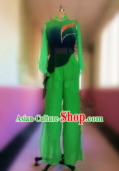 Traditional Ancient Chinese National Folk Yanko Dance Embroidery Costume, Elegant Hanfu China Classical Yangge Dance Dress Green Clothing for Women