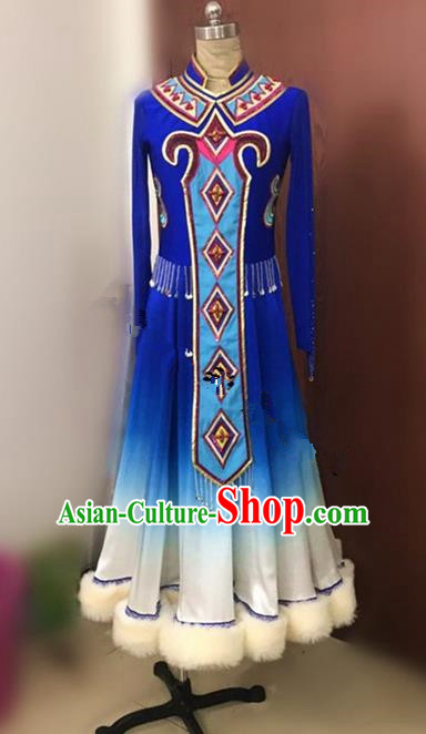 Traditional Chinese Uyghur Nationality Dancing Costume, Folk Dance Ethnic Blue Dress, Chinese Minority Nationality Uigurian Dance Costume for Women