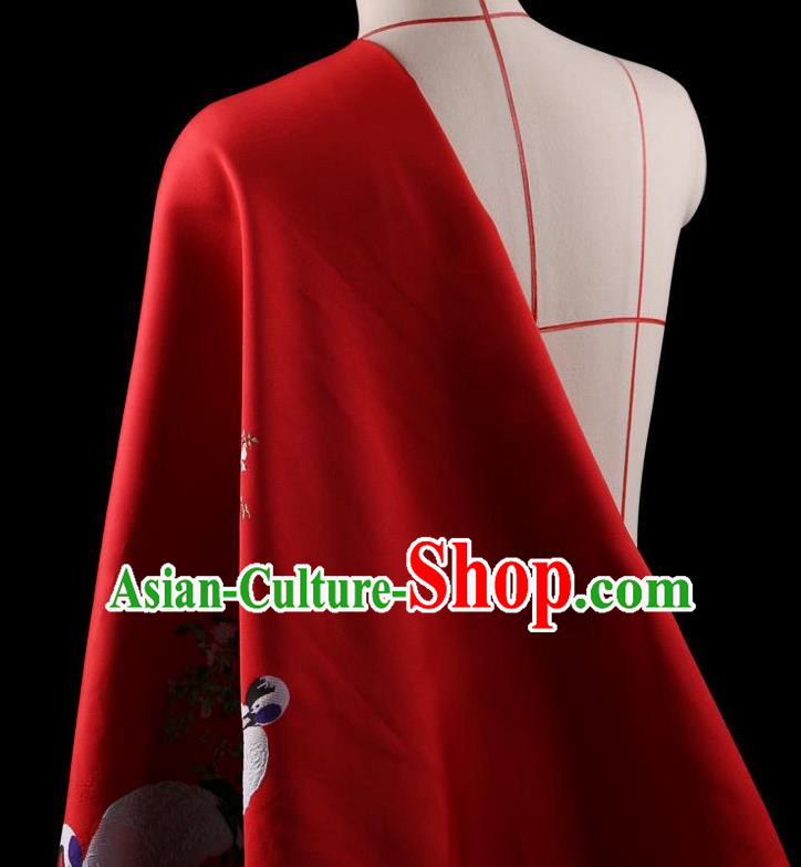 Traditional Asian Chinese Handmade Printing Cranes Dress Silk Satin Red Fabric Drapery, Top Grade Nanjing Brocade Ancient Costume Cheongsam Cloth Material