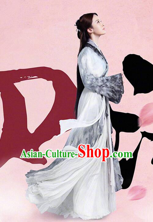 Asian Chinese Traditional Young Lady Costume and Headpiece Complete Set, Films Once Upon a Time China Fairy Bai Qian Dress Clothing for Women