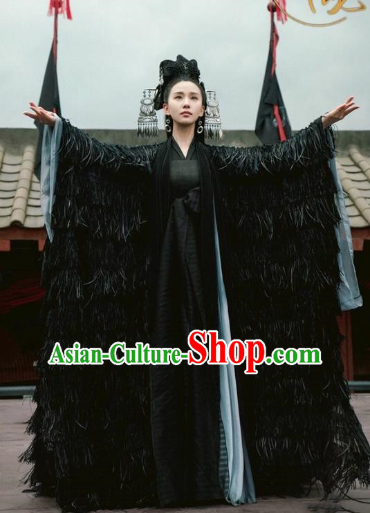 Asian Chinese Traditional Northern and Southern Dynasties Female Witch Costume and Headpiece Complete Set, Lost Love In Times China Ancient Princess Robe Saintess Dress Clothing