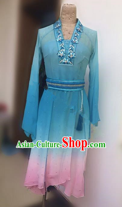 Traditional Ancient Chinese National Folk Yanko Dance Uniform, Elegant Hanfu China Classical Dance Dress Blue Clothing for Women