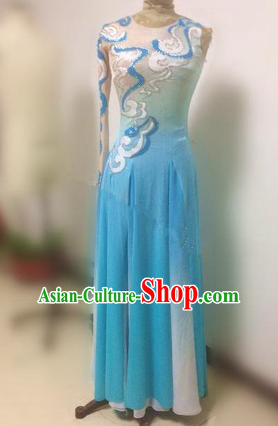 Traditional Ancient Chinese National Clothing Folk Yanko Dance Uniform, Elegant Hanfu China Classical Dance Blue Dress for Women