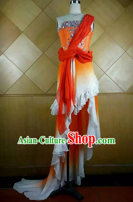 Traditional Ancient Chinese National Folk Yanko Dance Uniform, Elegant Hanfu China Classical Dance Orange Dress Clothing for Women